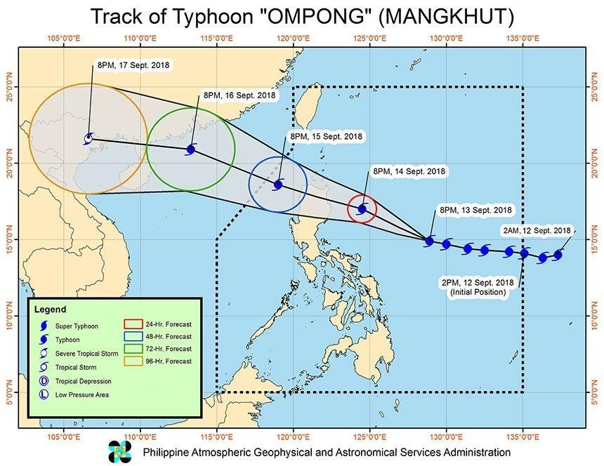 超強颱風「山竹」逼近菲律賓,威力逐漸增強,預料會在周六(15日)登陸菲律賓呂宋北部。(網圖)