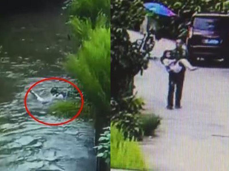 8歲女孩掉入水渠不斷掙扎,幸獲路過的鐵騎大叔跳下水救回。(網圖)