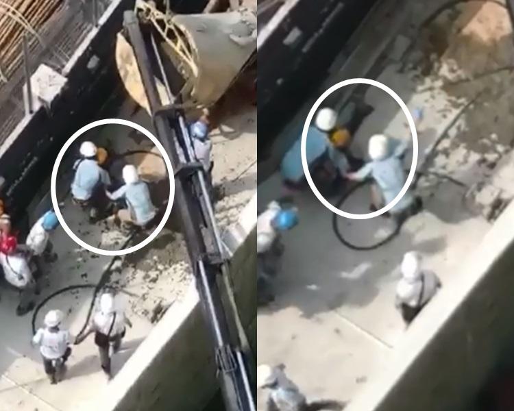 日出康城地盤硬物擊中兩工人。Tony Tam影片截圖