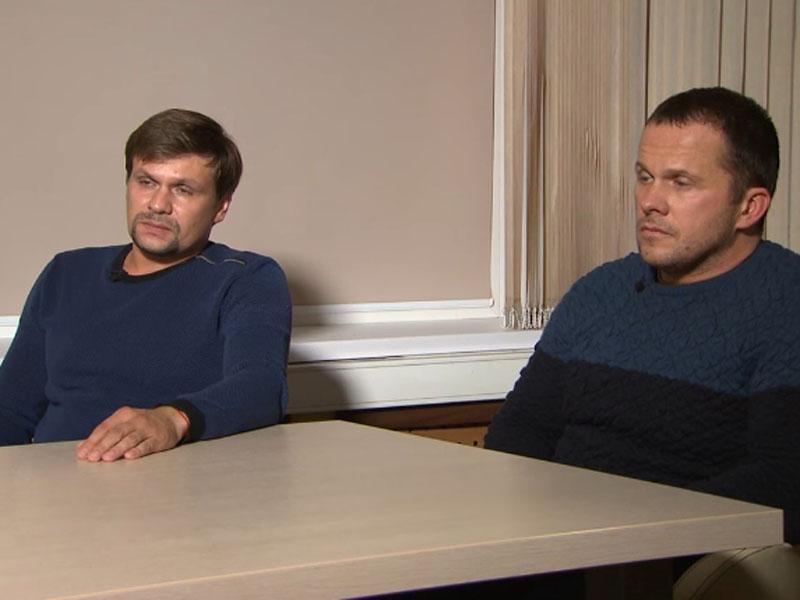 兩俄男子公開露面接受俄羅斯電視台訪問,期間否認涉及斯科利帕父女被毒害案。(網圖)