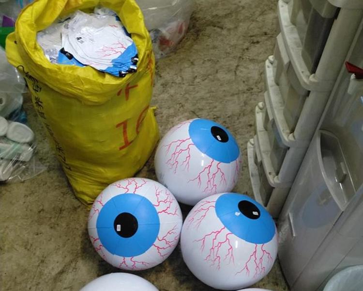 500個的全新吹氣眼球沙灘波。沙田回收中心fb圖片