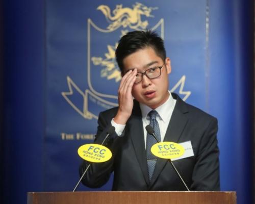 民族黨陳浩天。資料圖片