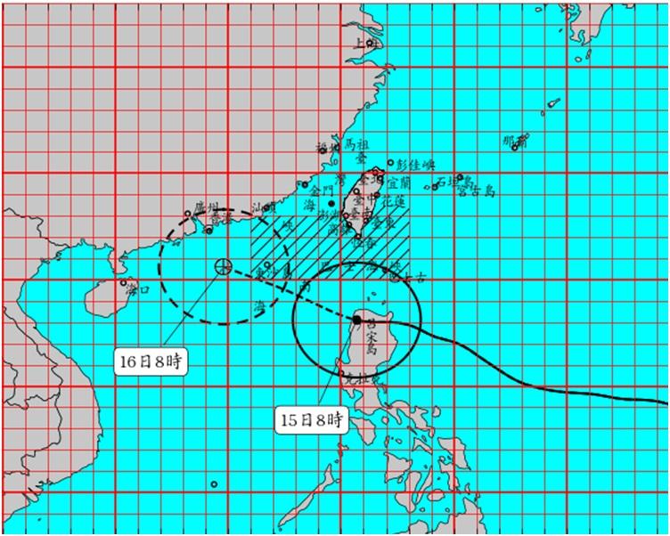 山竹正向西偏西北方向橫過呂宋島北部。圖:中央氣象局