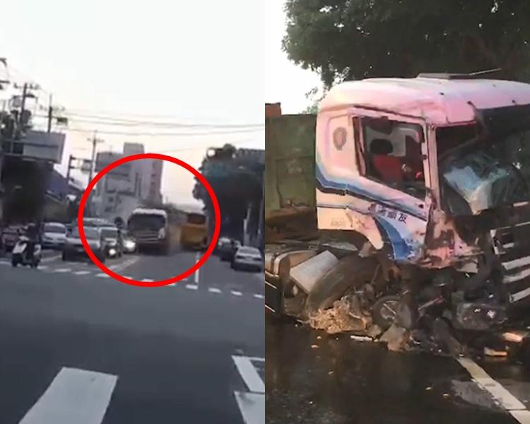 大型貨車連撞27輛車。截圖