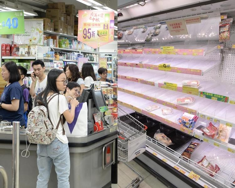 超市貨架被清空,尤其是蔬菜、冰鮮肉、杯麵、面包及水。