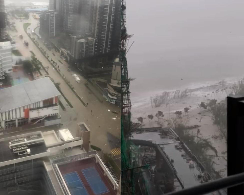 將軍澳有街道出現嚴重水浸;海濱公園長廊亦變成「長江」。fb群組「將軍澳」