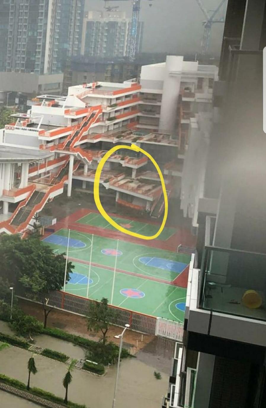 學校平台亦被吹歪。fb群組「將軍澳」
