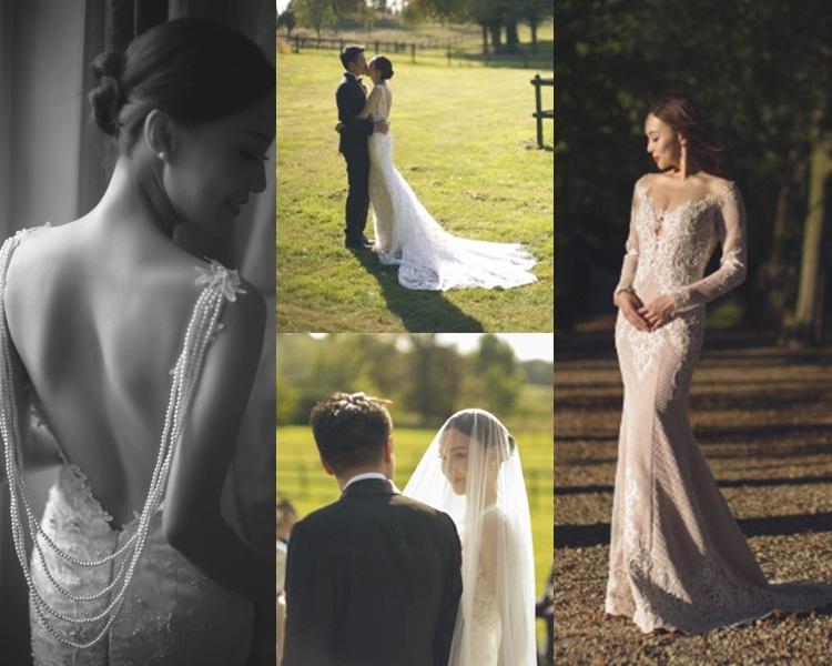朱璇這身段穿這婚紗大讚了,於比利時大草原行禮夠浪漫。(微博圖片)