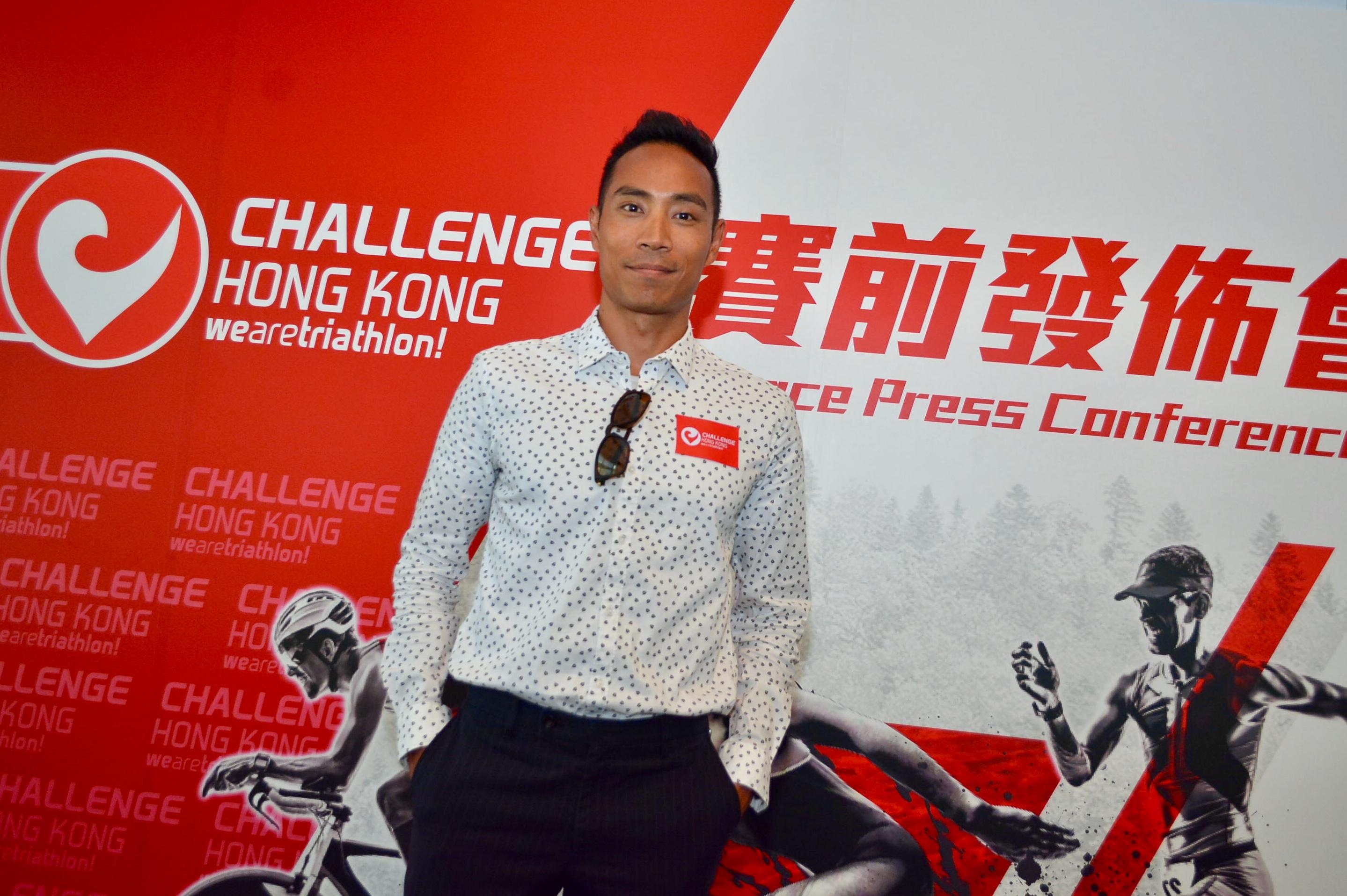 李致和出席首届Challenge Hong Kong国际三项铁人赛发布会,赛事将于十一月廿五日在大尾笃举行。梁柏琛摄