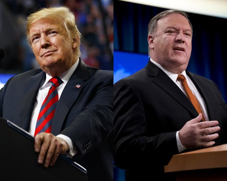 特朗普(左)不急於落實無核化達成協議。蓬佩奧(右)期望快實現第二次美朝峰會。AP