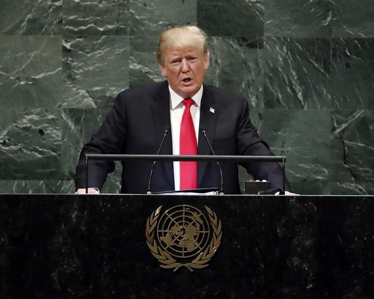 美國總統特朗普在聯合國大會周年會議中,向中國的貿易政策發炮。AP