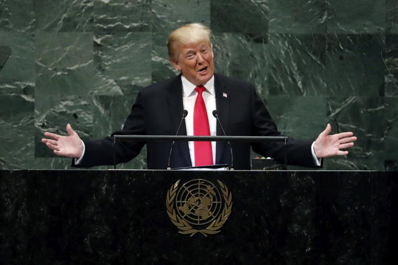 特朗普昨天在聯合國大會發表演講期間,自跨政績比任何一位美國前總統都要多,引來在場一陣笑聲。AP