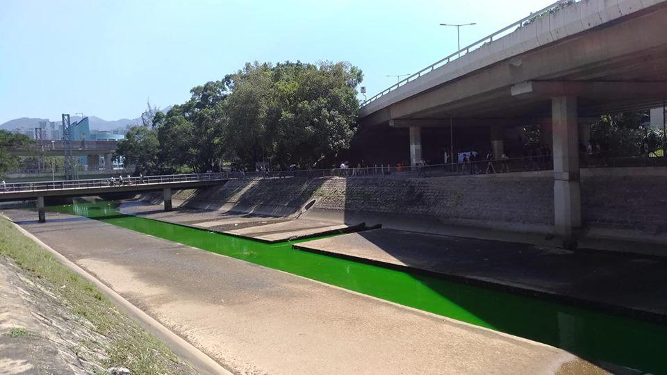 明渠變成綠色。網民Jovi Joivy圖片