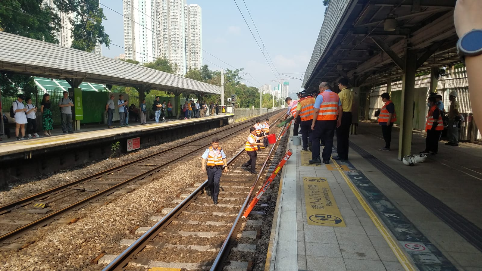 港鐵粉嶺站有人進入路軌範圍。