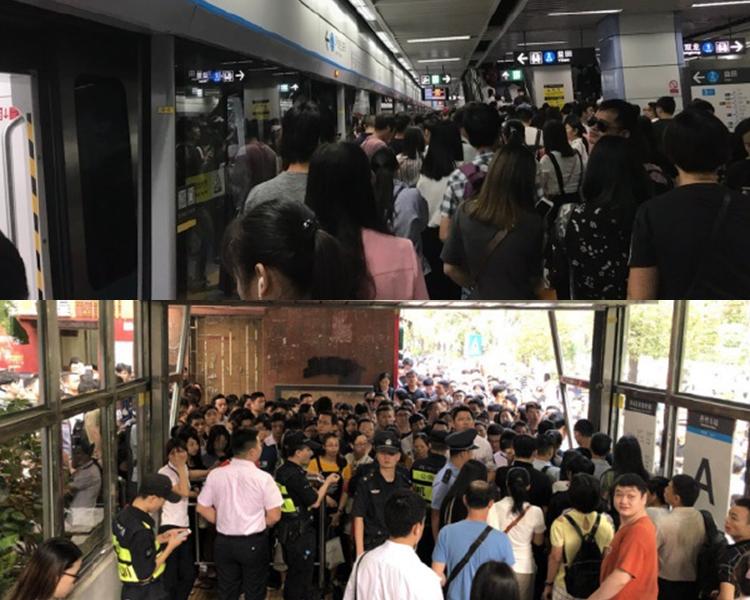 乘客滯留於地鐵站內及月台,巴士站亦大排長龍。微博圖片