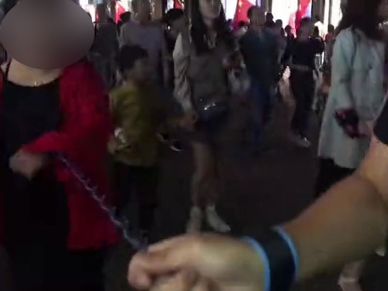 男友用防丟繩牽着女友逛夜市,稱「好吃的太多怕她走丟了」。(網圖)