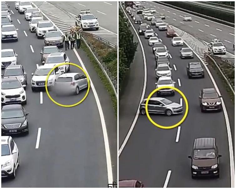 女司機打算逆道行駛硬插入兩行車龍中間。片段截圖