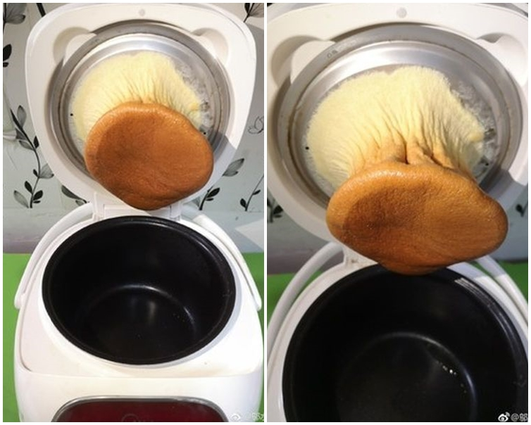 蛋糕黏在鍋頂,變成一個「杏鮑菇」。鄔水水sui微博圖片