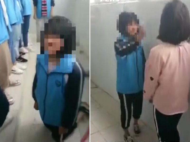 湖南中學生糾集多人讓女同學下跪,並和另一女孩互相掌摑。(網圖)
