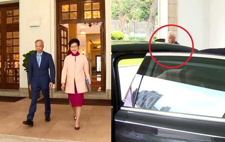 林兆波親自送太太林鄭出門。影片截圖