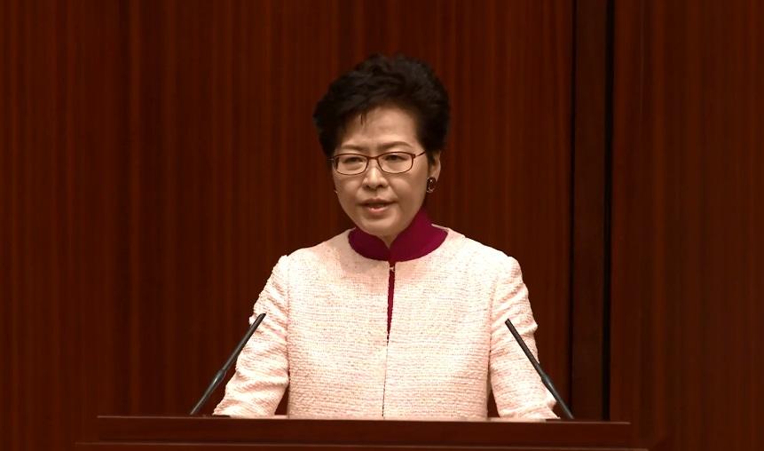林鄭月娥昨日早上到立法會簡介《施政報告》內容。影片截圖