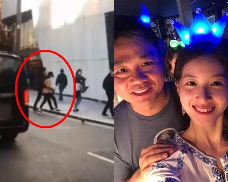 有網民表示,在英國倫敦街頭偶遇劉強東及其網紅妻子「奶茶妹妹」。網圖