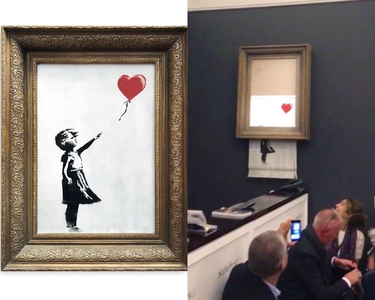 畫作《氣球女孩》自毀後,已易名為《在垃圾桶內的愛》。AP