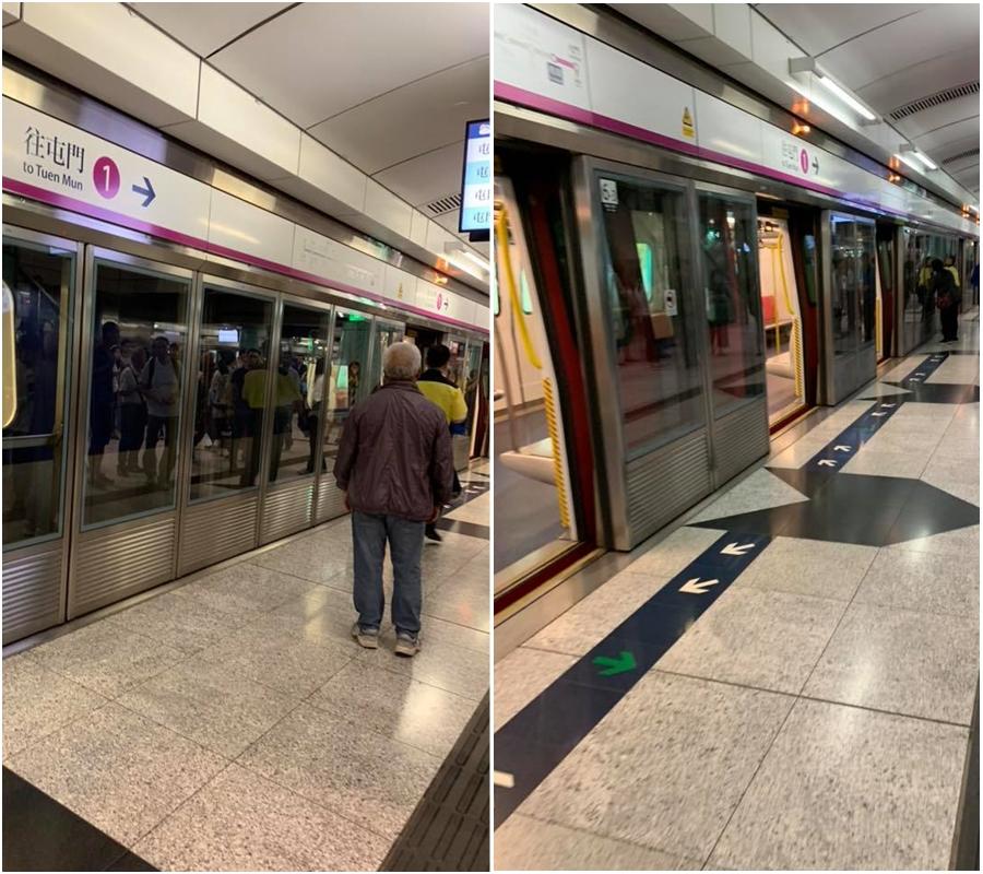 西鐵兆康站列車暫停服務。香港交通突發報料區網民Allen Chan 圖片
