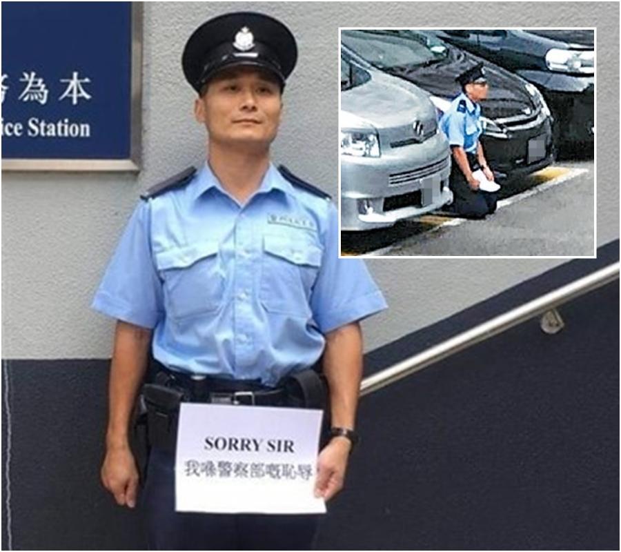 觀塘警署外再有警員手持紙張;當事人去年曾在警署跪地(小圖)。網上圖片