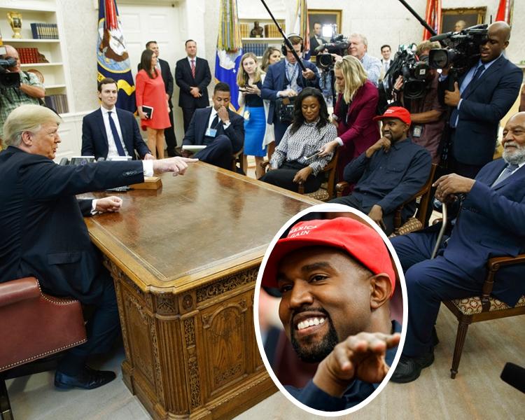 Kanye West(小圖)力挺特朗普,還獻上擁抱。AP