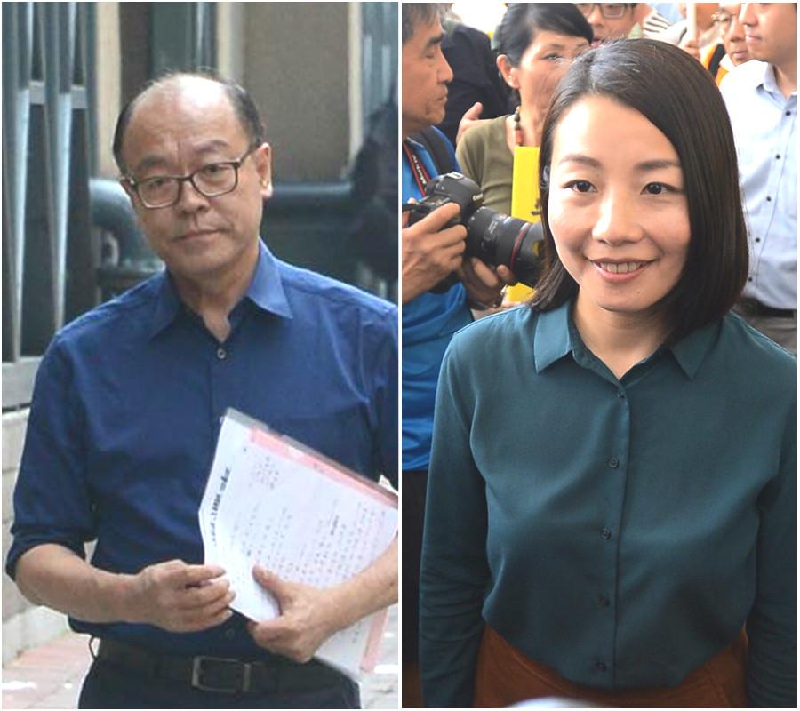 劉小麗(右)被取消資格, 馮檢基(左)譴責政府。資料圖片