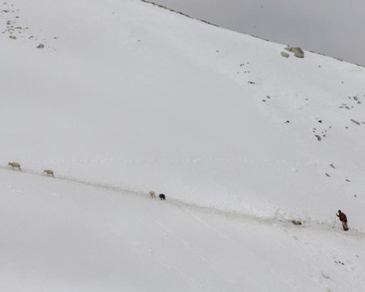 喜马拉雅山脉古尔加山峰营地。