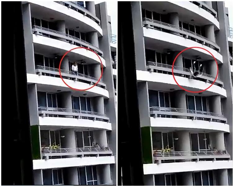 女子从27楼堕下。片刻截图