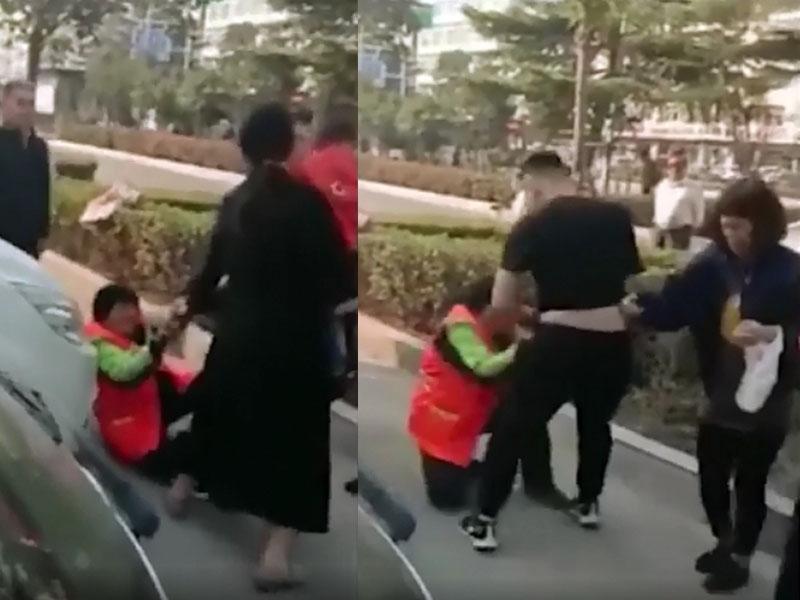 小孩隨地大便被阻,該對夫婦當街毆打清潔工姚香。(網圖)