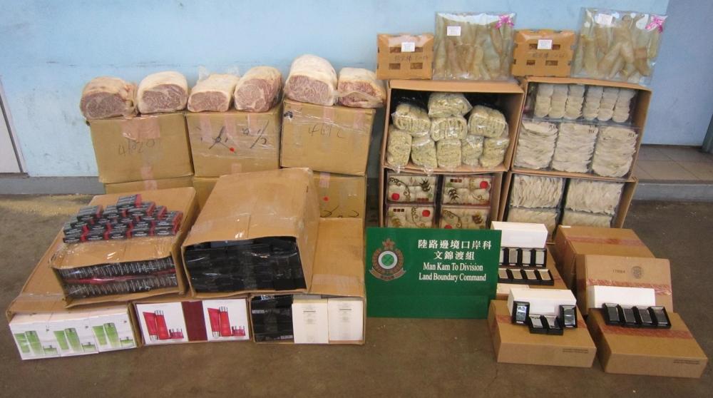 海關13日在文錦渡管制站檢獲一批懷疑走私貨物,估計市值約180萬元。 海關提供