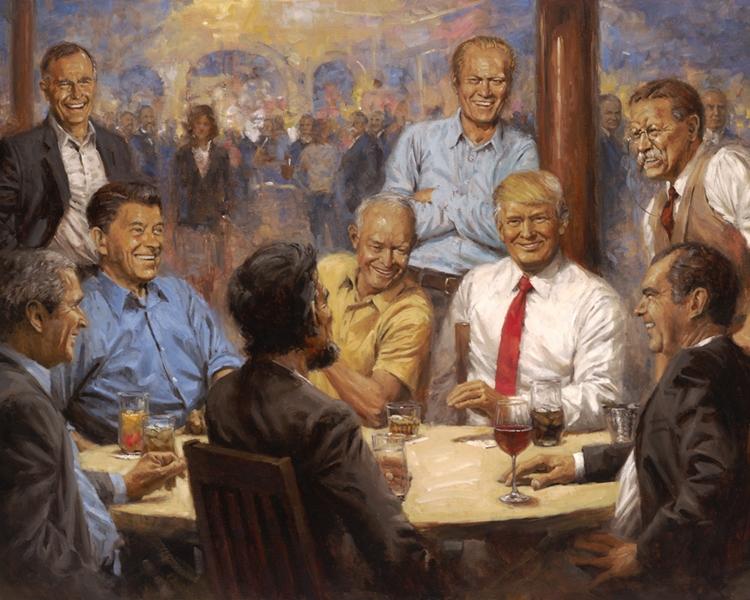 特朗普白宫办公室新添一幅油画,引发网民热议。网图