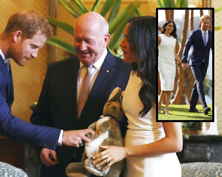 澳洲总督科斯格罗夫妇送小袋鼠玩偶和UGG婴儿小雪靴给哈里和梅根。