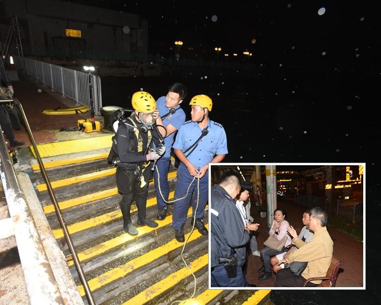 消防蛙人下海打撈至凌晨四時,沒有發現下暫時收隊離場,今早再出動搜救。