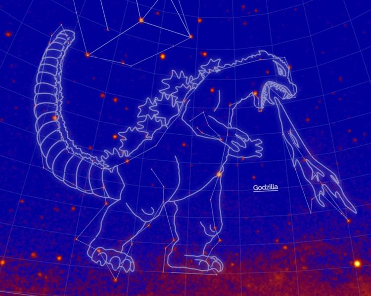 NASA命名新星座,日怪獸「哥斯拉」獲殊榮。網上圖片