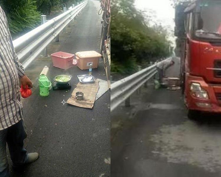 狂司機高速公路停車打邊爐。網上圖片