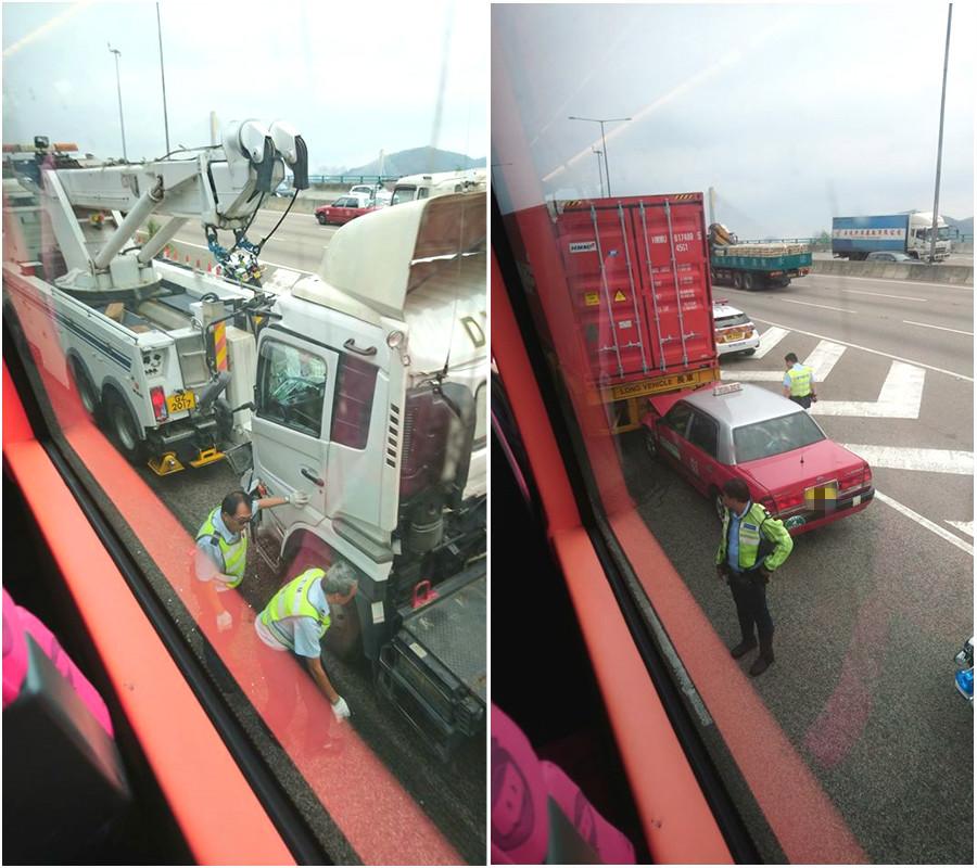 的士與貨櫃車相撞。 網民Alan Mok圖片