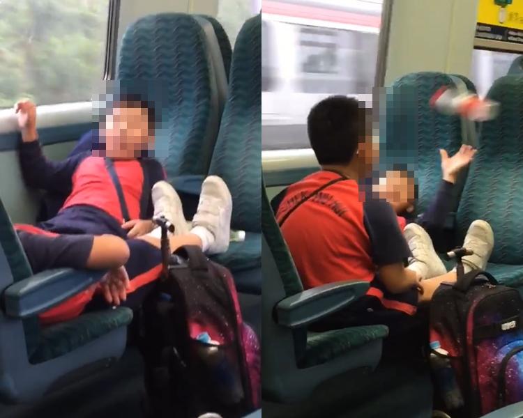 學童將腳放到座位上,又亂拋水樽。