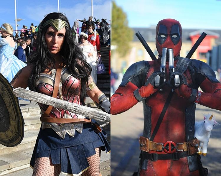 动漫迷打扮成「神奇女侠」及「死侍」。