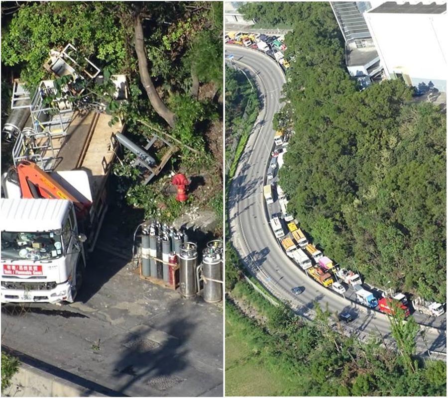 環保大道交通擠塞。交通突發報料區網民Geneve Tam 圖片