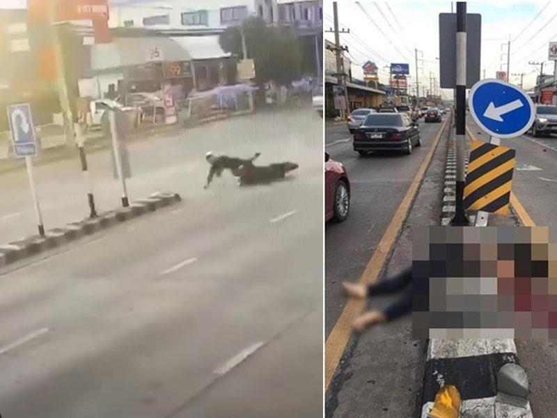 泰国铁骑士电单车失控,遭标誌桿拦「腰斩」惨死。(网图)