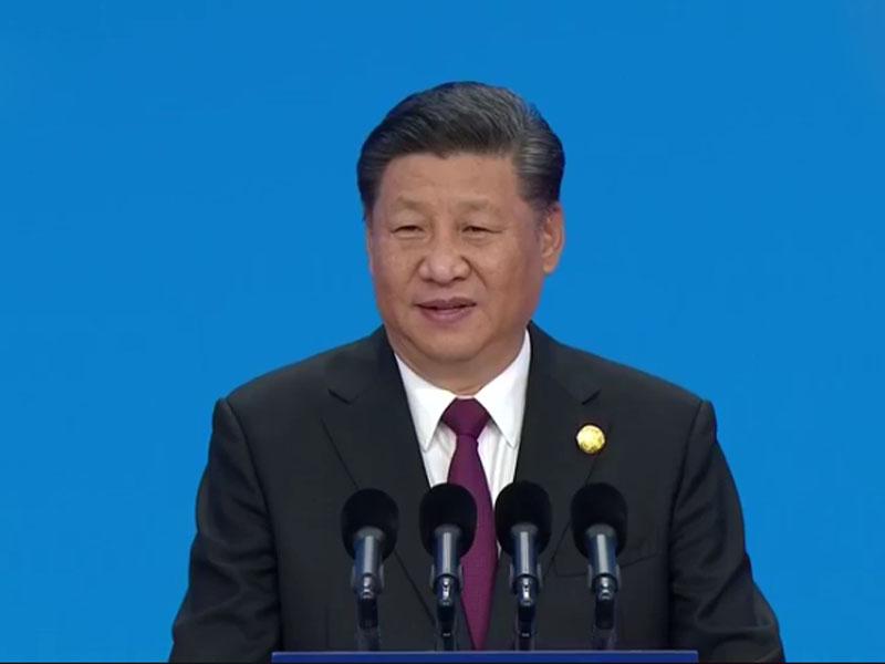 習近平今日主席出席首屆中國國際進口博覽會開幕式並發表主旨演講。(電視截圖)