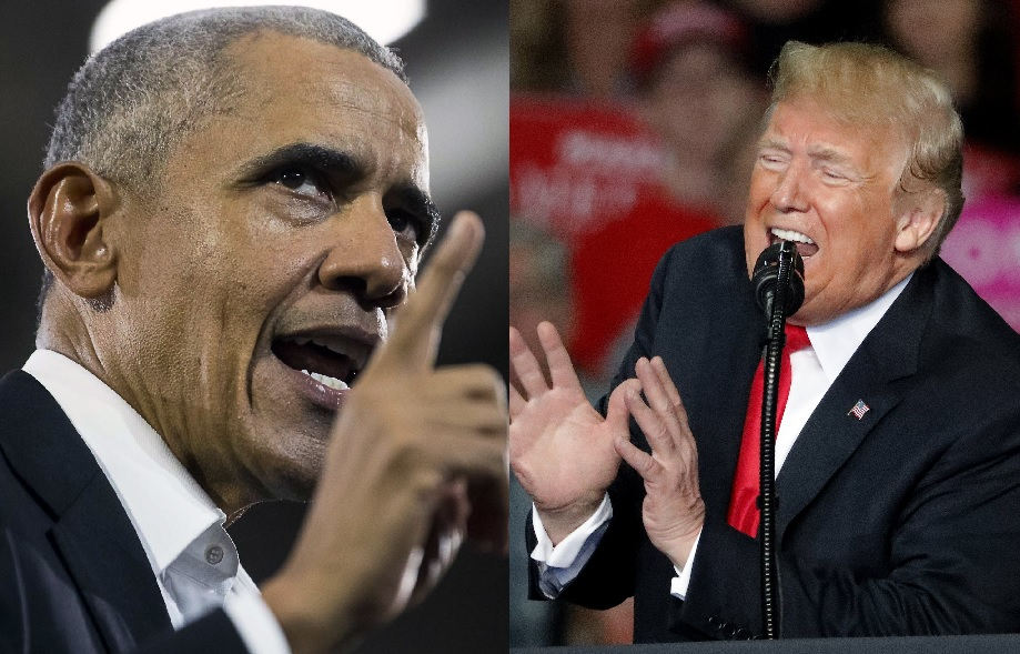奧巴馬(左)與特朗普為候選人站台時,隔空挑機。美聯社