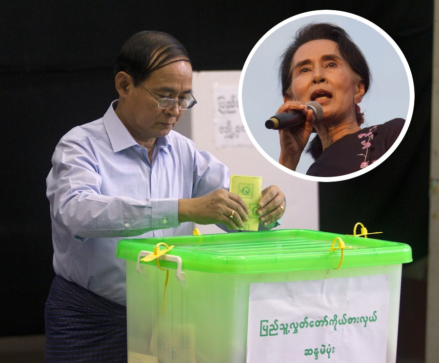 昂山素姬(小圖)所屬政黨「全國民主聯盟」在6個選區失利。美聯社