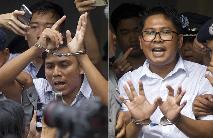 路透社記者瓦隆(右)和吳覺梭被當地政府判囚7年。美聯社資料圖片