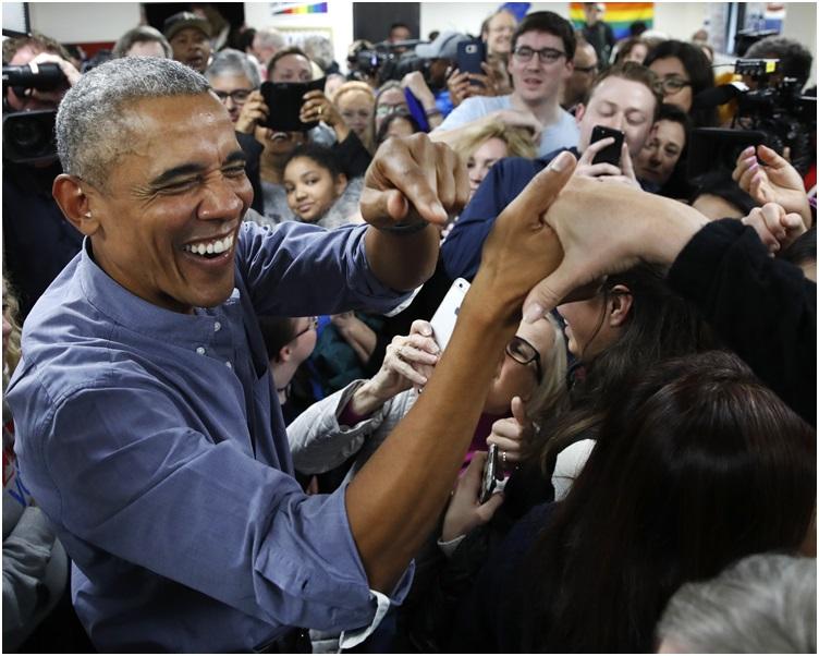 奧巴馬受到選民的熱情支持。 AP